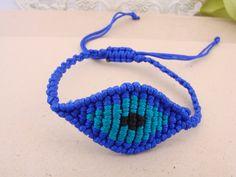 Blue Turquoise Macrame Evil Eye Bracelet Greek Mati by ForThatSpecialDay on Etsy