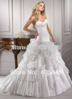 Organza Ruffles Strapless Custom made Ivory/White Satin Flowers A-Line Wedding Dress Bridal Gown