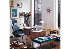 A home office for the eclectic, hipster modern kind. Love the styling.