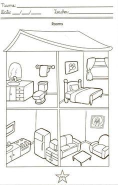 C om as partes da casa, podemos desenvolver algumas atividades como: QUESTIONS : 1 - Which are the parts of our house? English Worksheets For Kids, English Activities, Preschool Worksheets, Preschool Activities, Teaching Spanish, Teaching English, Teaching Kids, English Primary School, House Colouring Pages