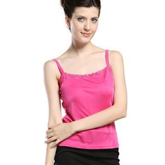 Forever Angel Women's Knitted Silk Lace Camisole Top Fuchsia Size L. 100% Mulberry Silk. Silk Knitting, Stretchy And More Comfortable. Silk Knit Garments May Be Dry Cleaned Or Hand Washed In Cool Water With Mild Soap, Laying Flat Or Hanging To Dry. Please Select The Size According To Our Size Chart in the Product Description Below.