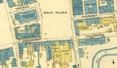 Zoomed-in view of Main Plaza and Dolorosa in 1885. Photo: Sanborn Map Company/Library Of Congress