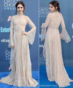 Vestido de renda longo Elie Saab, lace dress marfin yvory – Lily Collins inspira o look   http://modaefeminices.com.br/2017/01/11/maquiagem-romantica-gotica-lily-collins-inspira-o-look/