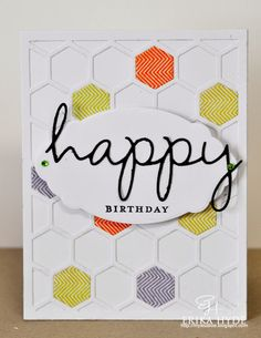 Lucky 7- Colour Q Challenge #211; Papertrey Ink; Happy Hexagons, Wonderful Words, Card