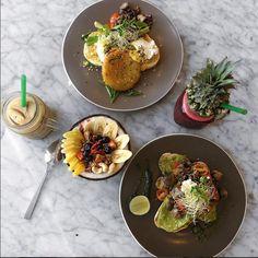 Tropical morning Instagram @FilipaJackson ..................................... #flatlay #flatlays #flatlayapp #styling #photography #instagram #food #foodie #avocado #toast #acai #bowl #smoothie #iced #coffee #pineapple #marble #table #cafe #organic #bali #travel #blogger #fresh #playingwithapparel