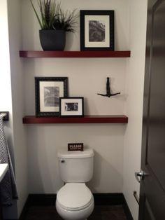 modern minimalist half bath decorating ideas with small shelves in ...