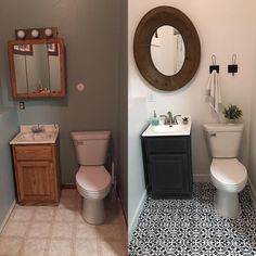 A bathroom makeover with a budget friendly floor update. The floor is painted and stenciled with the Augusta Tile Stencil from Cutting Edge Stencils. http://www.cuttingedgestencils.com/augusta-tile-stencil-design-patchwork-tiles-stencils.html    Project via @saraopheim