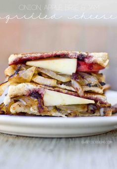 the best grilled cheese ever- with caramelized onions, apples, brie and jam!