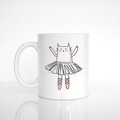 Ballerina Cat Mug Cat Coffee Mug Cat Cup Ceramic Mug Funny