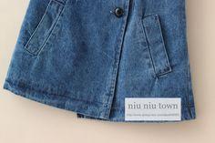00033 TJ-6J2541 Free shipping 5 pcs/lot Wholesale Button-pocket vest oblique double denim jacket children autumn models http://www.aliexpress.com/store/1047972