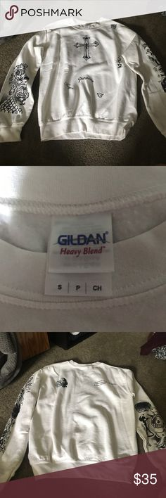 Justin Bieber tattoo sweatshirt Like new... willing to lower price... ships next day:) Tops Sweatshirts & Hoodies