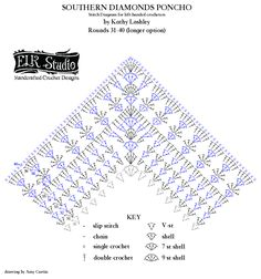 Best 12 Many of you requested an extension of the Southern Diamonds Poncho. Here is the diagram to help you finish up with your project! I hope the diagrams will continue to help you. If you aren't good at reading patterns but love diagrams…. Granny Square Crochet Pattern, Crochet Chart, Double Crochet, Single Crochet, Crochet Stitches, Shawl Patterns, Square Patterns, Crochet Skirts, Crochet Clothes