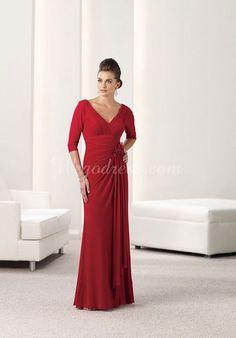 empire chiffon long v-neck sheath draping & applique mother of the bride dress - Wegodress.com