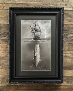 """Check out this #nautical #graphite #pencil #illustration by Matthew Greskiewicz (@mgdrawingstudio) entitled """"Moby Dick."""" The #realism (#photorealism!) in this #drawing, mixed with the fictional context of placing the giant whale beneath the #ship creates a great #juxtaposition. The ship's taut #sails, #rigging and #rope, and the seemingly gentle #waves it makes cresting through the #surf… none show any notice of what lies beneath. An ominous #cloudy sky... (more on Instagram)"""