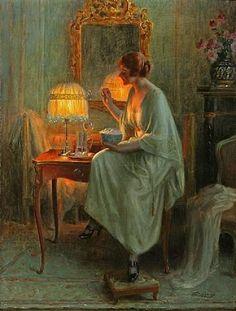 Delphin Enjolras (1865 - 1945)  Woman making bubbles!