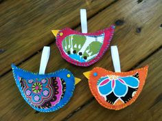 New Handcrafted Whimsical Felt Bird Ornaments | eBay