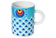 Koi Fish Mug, Blue ~~ Koinoburi are carp shaped kites that are flown by children in Japan when the weather gets warm, and these beautiful mugs celebrate that wonderfully iconic tradition. Made in Japan by Miya Company