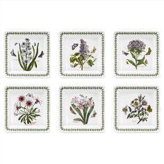 Portmeirion Botanic Garden Set of 6 Square Salad Plate (Assorted Motifs)