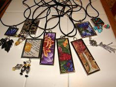 Photo charm necklaces except I used fabric scraps instead of photos.