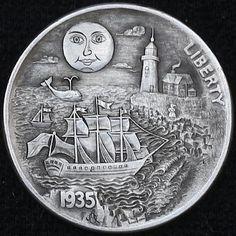 ALEX OSTROGRADSKY HOBO NICKEL - SAILING HOME ACROSS THE OCEAN - 1935 BUFFALO NICKEL
