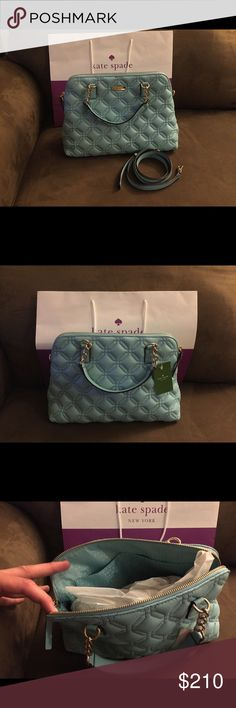 """NWT Kate Spade Astor Court Small Rachelle Blue BRAND  NEW! NEVER USED! Gorgeous Kate Spade Astor Court Small Rachelle.  Tags are attached and Kate Spade purchase bag included. This is a rare find and it is a beautiful bag!  The dimensions are as follows. 12.5"""" L x 9""""H x 5"""" D. Strap drop of chain handles 5"""" and strap drop with removable strap 21"""". Kate Spade Bags Satchels"""