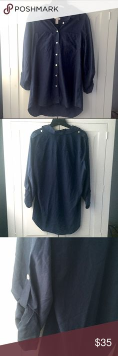 🆕LISTING🆕 Chicos Beautiful Dark Blue Button-down CHICO'S.💙 Beautiful Dark Blue Button-down shirt. Great everyday shirt for an easy pulled-together look. Great for travel or just running errands around town. Love the material too...soft and breathable!!❤️ BUNDLE and SAVE or feel free to make me an OFFER!!😘 Chico's sizing: Size 1 = Medium = approx US 8 Chico's Tops Button Down Shirts
