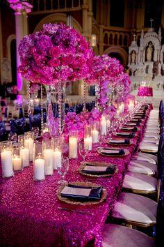 Fuschia Wedding, Hot Pink Weddings, Gold Wedding, Wedding Table, Wedding Colors, Wedding Flowers, Dream Wedding, Wedding Day, Party Wedding