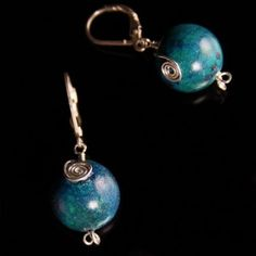 Handcrafted 14mm azurite chrysocolla gemstone earrings with sterling silver leverbacks