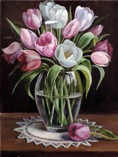 pintura - ainda, vida, comprar um retrato Tulipas Drawing Flowers, Oil Painting Flowers, Watercolor Flowers, Watercolor Paintings, Flower Girls, Flower Art, Flowers Vase, Infinity Dress, Big Vases