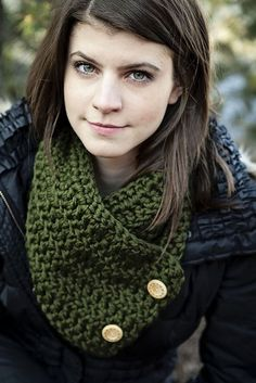 This quick and easy crochet scarf features a flexible two button closure to fit your comfort and style.