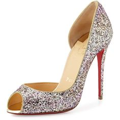 Christian Louboutin Demi You Glittered Red Sole Pump (4.635 VEF) ❤ liked on Polyvore featuring shoes, pumps, heels, sapatos, rosette gold, red sole pumps, red glitter pumps, leather pumps, christian louboutin pumps and high heel shoes
