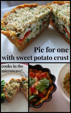 Easy and tasty sweet potato crust pie for one, that cooks in the microwave. Entree Recipes, Bean Recipes, Healthy Dinner Recipes, Real Food Recipes, Turkey Recipes, Quick Easy Dinner, Microwave Recipes, Spring Recipes, Tasty Dishes