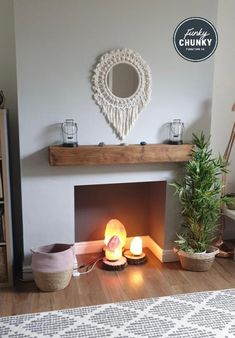 We love this fireplace, the styling is so pretty with its hurricane lamps on top of our oak mantel, the lovely mirror and of course the salt lamps in the hearth. Thank you for sharing Oak Mantel is our oak mantel in English Oak. Prices from Empty Fireplace Ideas, Oak Beam Fireplace, Unused Fireplace, Fireplace Shelves, Oak Shelves, Small Fireplace, Fireplace Mirror, Alcove Ideas Living Room, Living Room Update