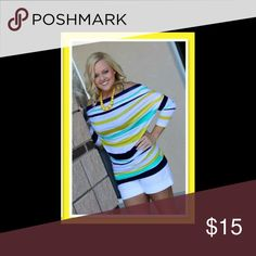 Navy, yellow, and green shirt NWOT Comfy multi color top Tops Tees - Long Sleeve