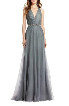 Monique Lhuillier Bridesmaids Back Cutout Pleat Tulle Gown | Nordstrom