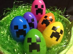 Colorful Creeper Easter Eggs by bluesleepyowl on Etsy, $5.00