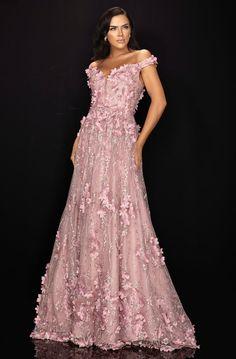 Terani Couture - Floral Appliqued Off-Shoulder A-Line Dress Boutique New York, Ball Skirt, Terani Couture, Column Dress, Long Evening Gowns, Bride Gowns, Wedding Gowns, Couture Dresses, Special Occasion Dresses