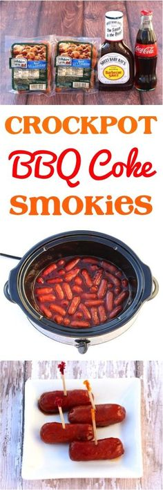Crock Pot BBQ Coke Little Smokies Appetizer Recipe! Just 3 ingredients and the … Crock Pot BBQ Coke Little Smokies Appetizer Recipe! Just 3 ingredients and the ultimate party food! Slow Cooker Recipes, Crockpot Recipes, Cooking Recipes, Crockpot Party Food, Sausage Recipes, Chicken Recipes, Appetizers For Party, Appetizer Recipes, Party Snacks