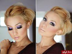 Nude lips, flawless skin, and the prettiest purple eye makeup!!!
