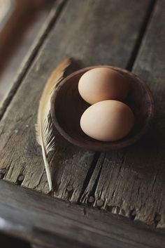 i like this because of the contrast of texture from the smooth and soft of the feather and eggs to the rough and hard of the wooden table