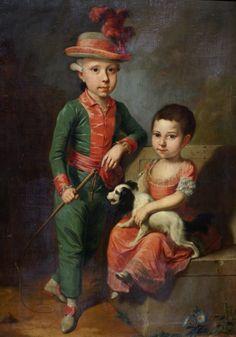 Jacob Tischbein (?), Doppelbildnis des Johann Georg von Holzhausen und seiner Schwester Henriette (Double Portrait)  Jacob Tischbein (Haina 1760 - Frankfurt 1803/4), Doppelbildnis des Johann Georg von Holzhausen und seiner Schwester Henriette (ca. 1775)