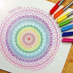 What are you waiting for? Get your favourite drawing supplies and let your imagination take you away . Thank you Aayushi Shah for creating this fantastic colourful mandala! Mandala Doodle, Mandala Drawing, Mandala Painting, Zen Doodle, Doodle Art, Dibujos Zentangle Art, Zentangle Drawings, Doodles Zentangles, Art Drawings