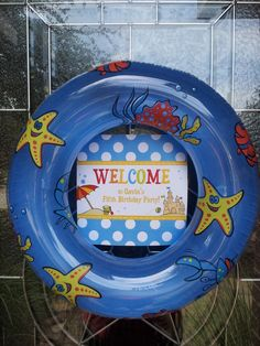 "Cute idea for a summertime door wreath! Photo 1 of Beach Party / Birthday Birthday Beach Bash"" Pool Party Kids, Luau Party, Beach Party Decor, Beach Theme Parties, Beach Party Centerpieces, Beach Ball Party, Hawaiian Parties, Hawaiian Luau, Party Fun"