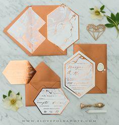 copper and marble geometric wedding stationery Elegant Wedding Invitations, Wedding Stationary, Wedding Invitation Cards, Wedding Cards, Wedding Album, Glitter Invitations, Copper And Marble, Gray Marble, Carton Invitation