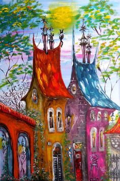 Buy Prints of ANNO an Acrylic Painting on Canvas, by Tatyana Murova from N. - Buy Prints of ANNO an Acrylic Painting on Canvas, by Tatyana Murova from Netherlands, Not for - Naive Art, Whimsical Art, Acrylic Painting Canvas, Painting Inspiration, Watercolor Paintings, Portrait Paintings, Folk Art Paintings, Saatchi Art, Fantasy Art