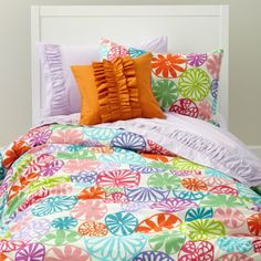 Talk about colorful! Want to add a burst of color to a girl room? Colorful bedding like this 'Sunshine Day' duvet cover is a great place to start. Add in some colorful throw pillows and you're good to go. Discover more decorating ideas for girls @ https://www.facebook.com/GirlsRooms