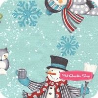 All Bundled Up Blue Snowmen All Over Yardage <br/>SKU
