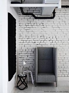 Cappellini Ribbon Stool in Black, Lightyears Takeru T Lamp in White, Hay Plopp Stool in White, Connected Lounge in Grey  https://shop.zieta.pl/pl,p,1,1,plopp_standard_stolek.html