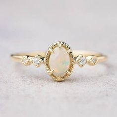 14k gold genuine Australian Opal ring Opal engagement ring