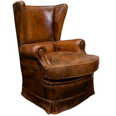 Leather Club Chair, French circa 1930